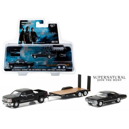 "2015 Chevrolet Silverado 1500 and 1967 Chevrolet Impala Sport Sedan on Flatbed Trailer ""Supernatural"" TV Series (2005-Current) 1/64 Diecast Model Cars by Greenlight"