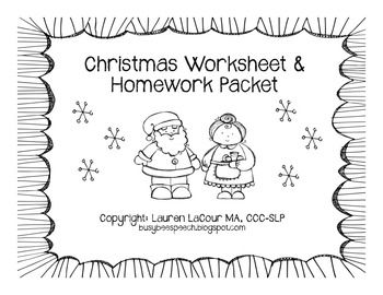 christmas worksheet homework pack for speech therapy christmas worksheets speech therapy. Black Bedroom Furniture Sets. Home Design Ideas