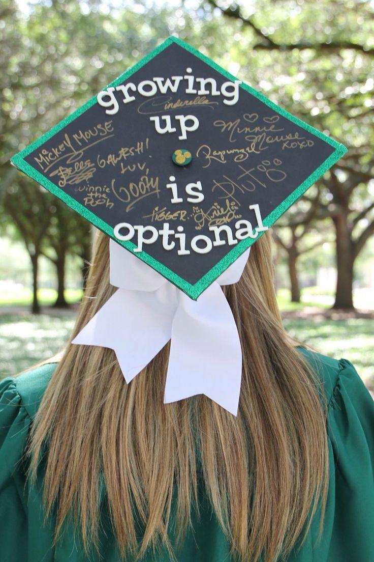 Disney chalkboard signature grad cap bow