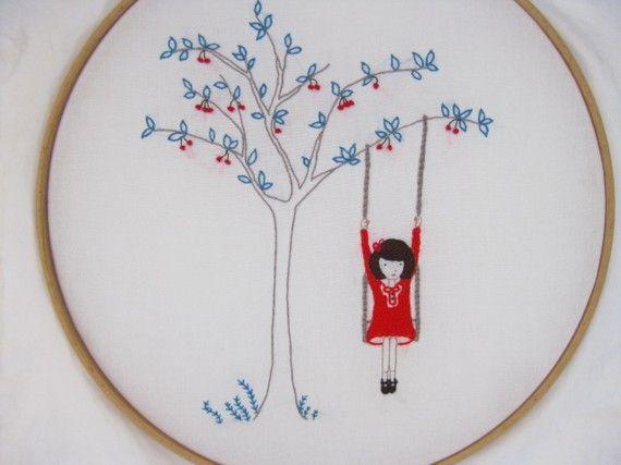 Cherry on the tree swing.  Comfortstitching
