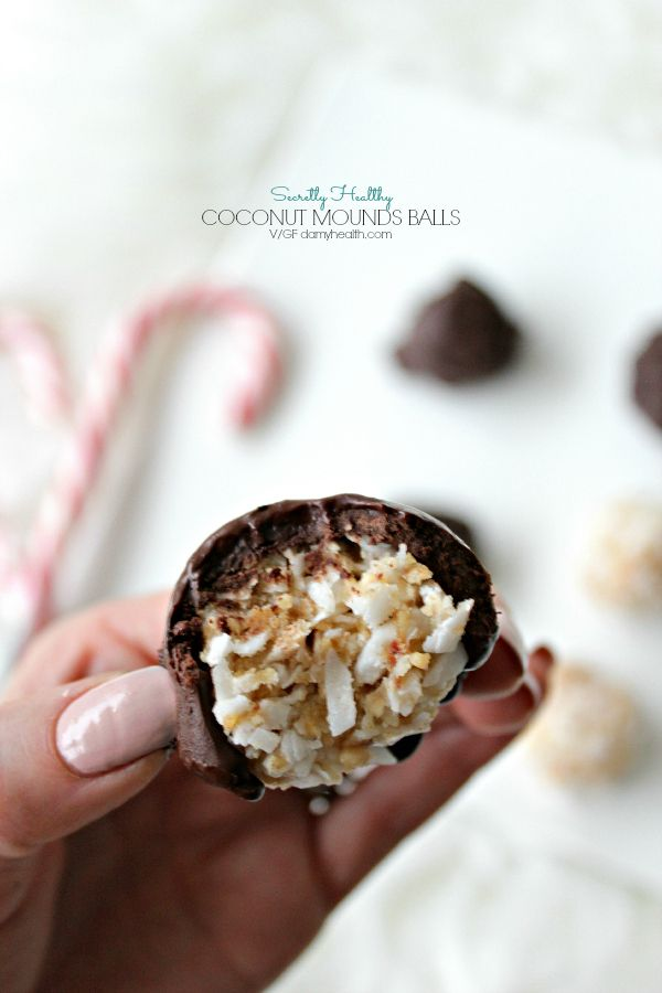 These Secretly Healthy Coconut Mounds Balls are perfect for the holiday season. These bite-sized chocolate covered coconut bites are a delicious treat.