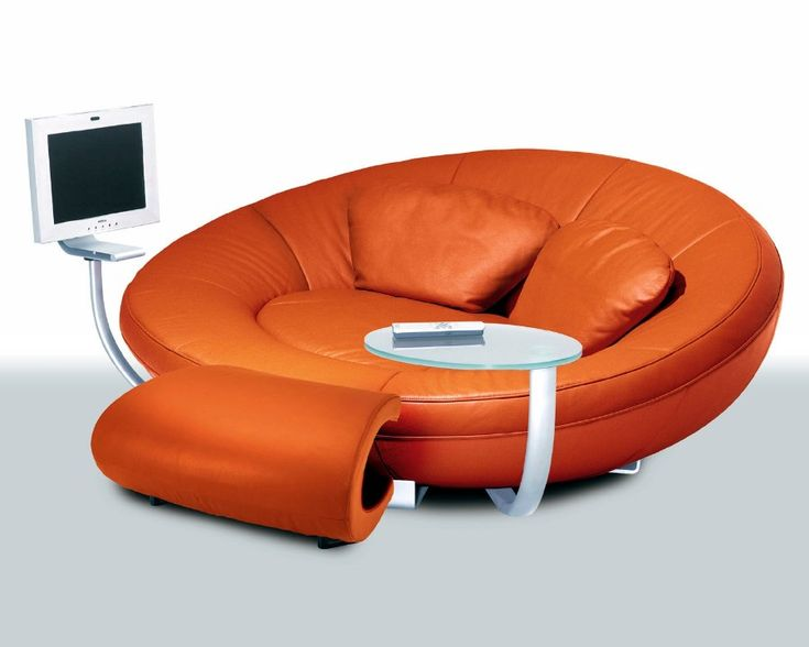 Futuristic Luxury Sofas Make Perfect Spacious Living Room Design: Great  Orange Color Modern Style Luxury