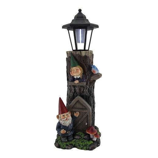 Gnomes at Home Decorative Solar Powered Lantern Statue - Brown