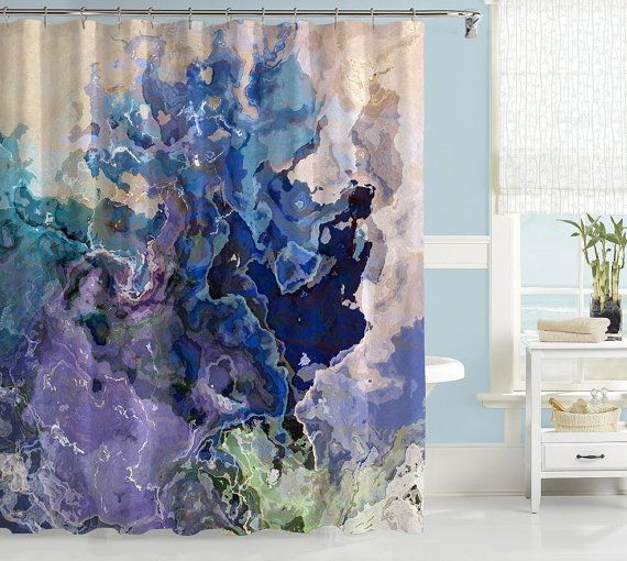 Contemporary shower curtain abstract art bathroom decor for Blue and green bathroom accessories