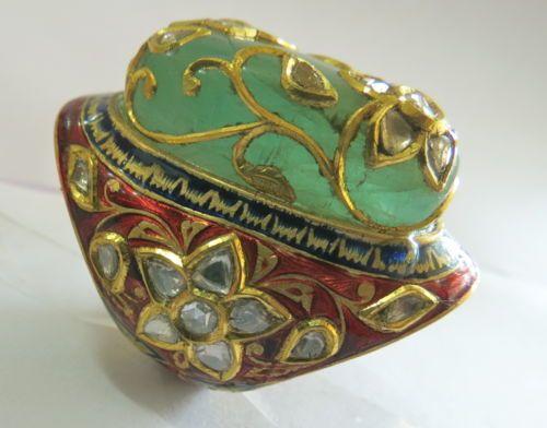 ANTIQUE DESIGN COLOMBIAN EMERALD KUNDAN MEENA JADAU DIAMOND RING 22K GOLD FJ EHS