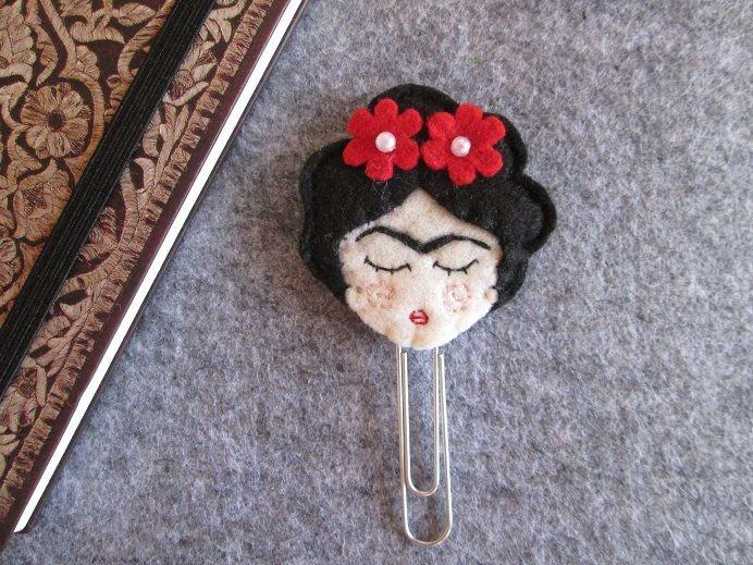"""Frida Kahlo Paper clip - Frida Kahlo bookmark - Segnalibro """"Frida Kahlo"""" - Segnalibro in feltro - Graffetta - Regalo per lettori - Planner accessories di TinyFeltHeart su Etsy"""