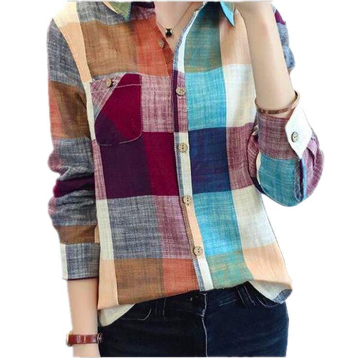 Vintage Plaid Shirt Women Fashion Ladies Tops Women Blouses 2016 Autumn New Blusas Long Sleeve Blouse Women Casual Chemise Femme