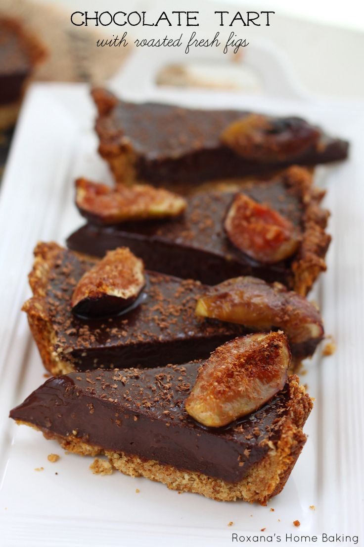 Decadent, rich chocolate ganache filling, a nutty crust and juicy sweet fresh figs make this roasted figs chocolate ganache tart a treat for a special occasion. Recipe from Roxanashomebaking.com. For best results, use Belgian style Chocoley V125 Couverture Chocolate (available in bittersweet dark, semisweet dark, milk & white) use Chocoley Bada Bing Bada Boom Candy & Molding Formula Gourmet Compound Chocolate (available in dark, milk & white) from Chocoley.com.