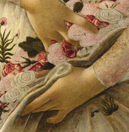 "Sandro Botticelli , ""Primavera"" (aka Allegory of Spring) ,tempera on panel , ca. 1482"