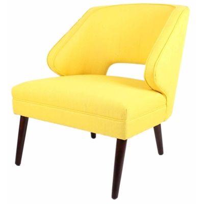Wesley Minimalistic Design Fabric Chair Brown Legs, Sunshine Yellow - Harrington Galleries