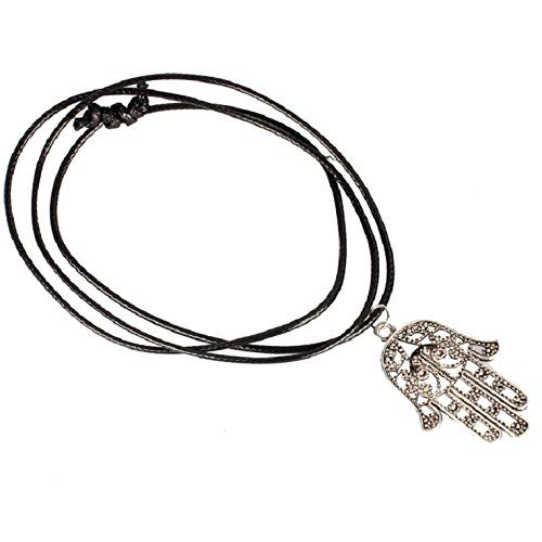 Doinshop New Nice Cute Lovely Hand of Fatima Pendant Necklace Choker Chains Charm Black Leather Cord *** Want to know more, click on the image.