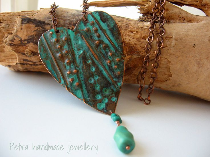 """My Heart"" foldforming copper necklace, green patina and turquoise beads"