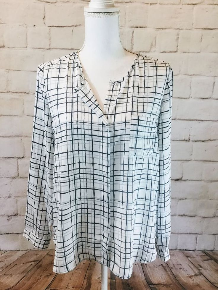 NWT CALVIN KLEIN JEANS MULTI-COLOR Checkered POLYESTER LONG SLEEVE BLOUSE SIZE S #CalvinKleinJEANS #ButtonDownShirt