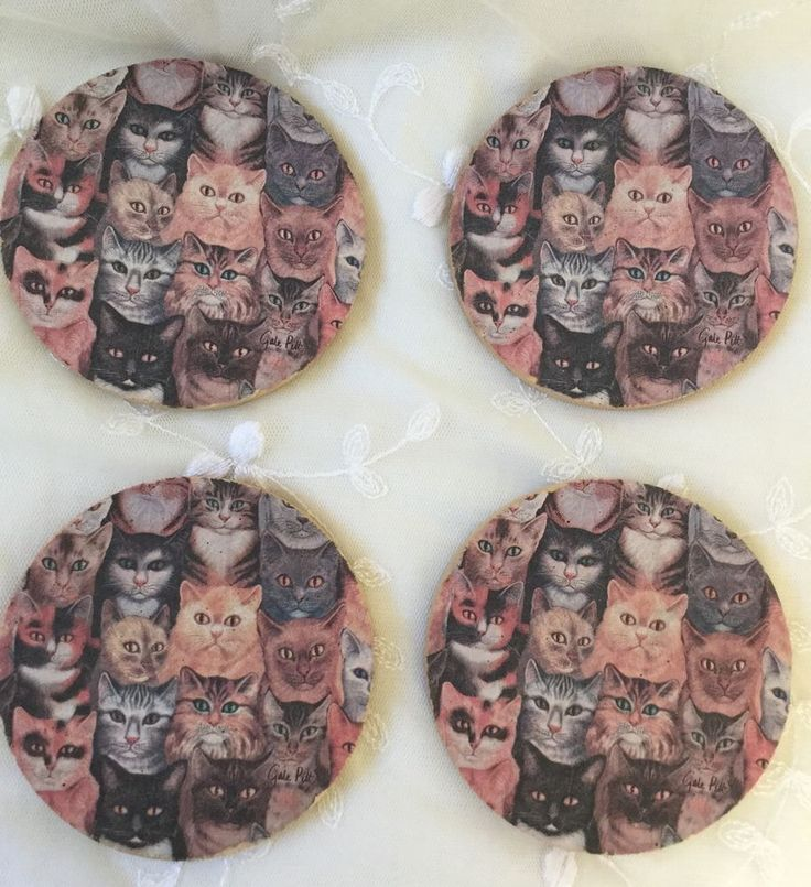 (Thirsty stone pre-owned set of 4 sandstone cat themed coasters that are in overall in good condition…images slightly faded. The coasters are made of sandstone and cork at bottom. Perfect for a cat lover/ pet lover/ animal lover or a crazy cat lady :). | eBay!