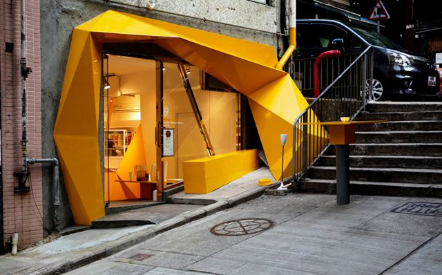 Konzepp Store. Hong Kong. 33WILL.  Vibrant, angular, asymmetrical, architectural element to spark curiosity.
