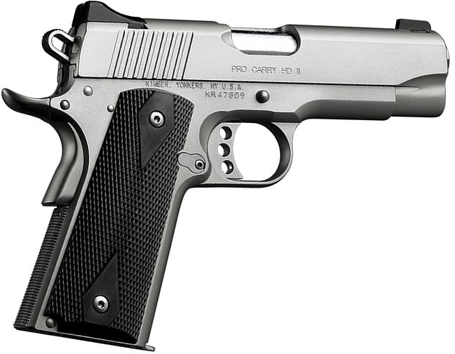 Kimber Pro Carry HD II Pistol - 38 Super, 4 in Barrel, Satin Stainless Steel Frame/Slide, 9 Rd
