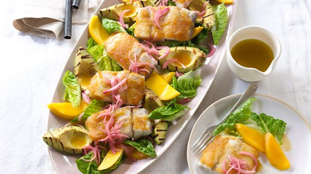 Curtis Stone's pineapple glazed barramundi with grilled avocado and mango