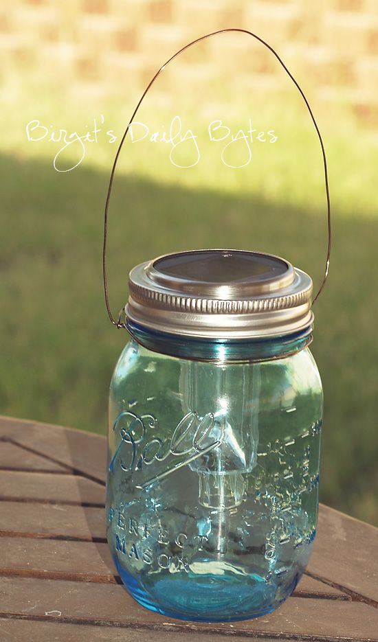 My friend B is Genius, Brilliant, Amazing, Every Pinterest Superlative ever used Star.  Birgit's Daily Bytes: Beautifying The Garden - Easy, Inexpensive Solar Lanterns