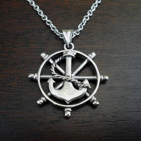 Mens nautical necklaceanchor mens necklacemens anchor and