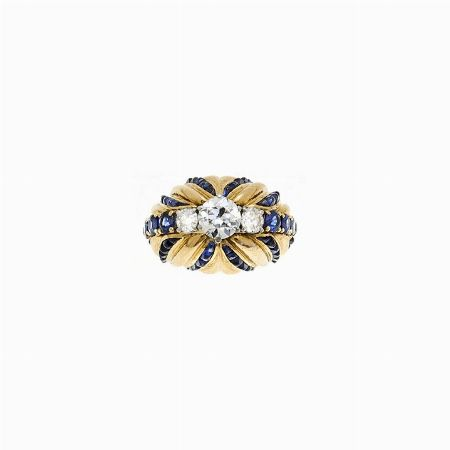 ANELLO, FRANCIA, ANNI CINQUANTA - oro giallo, zaffiri e diamanti #2 ASTA ONLINE Gioielli del Novecento - Lotto n. 31 #ring #anello #diamonds #gold #sapphire #golden #auction #florence #france @curiofirenze