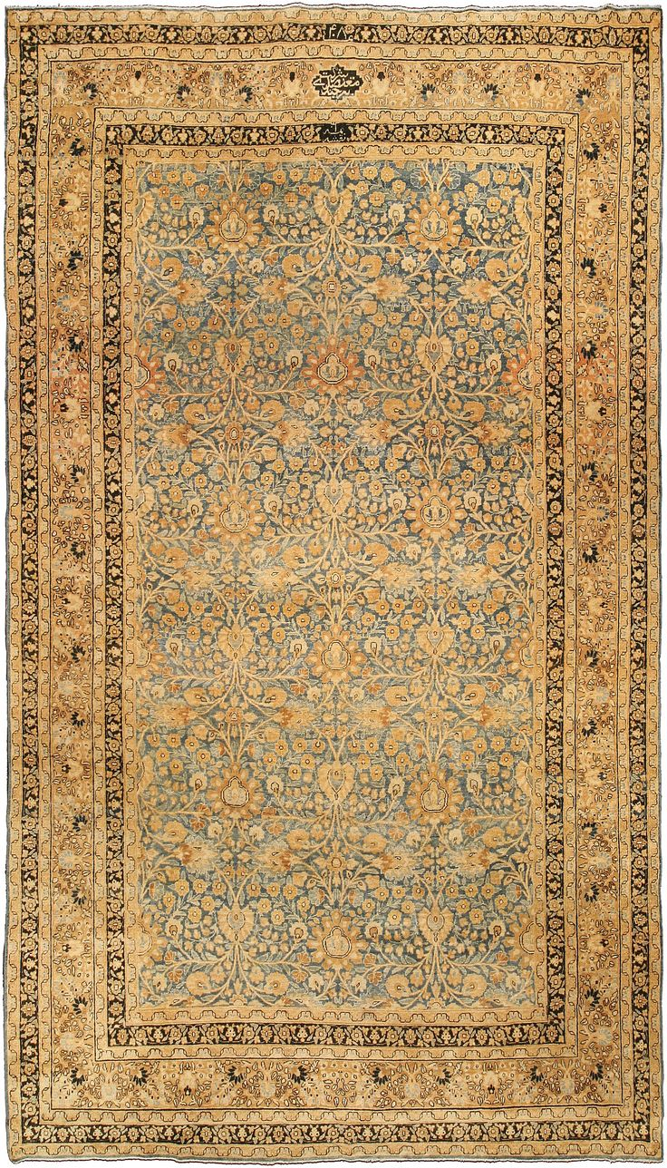 Persian Rugs: Persian Rug (antique) Rug In Blue Gold Color, Oriental Rug