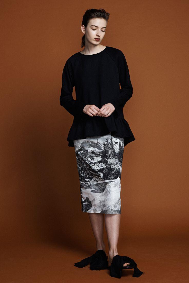 Pollyanna Sweater - Black Aster Pencil Skirt - Etching Print