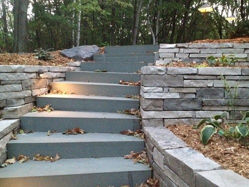 Blue Bluestone Stair Treads Flamed Top 1 Long Edge Pictures