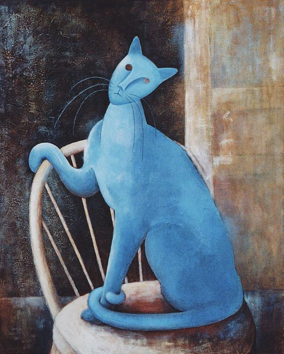 i like the simplicity of this painting and how the shape of the cat are very abstract