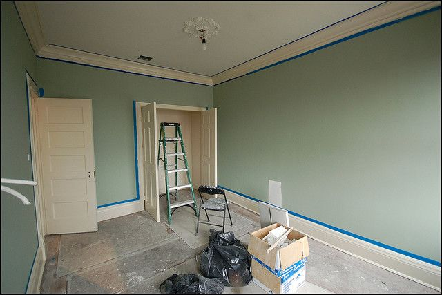 Painted Benjamin Moore Saybrook Sage With Bone White Trim And China White Ceiling Paint