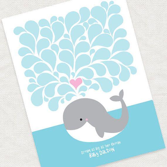 Wal-Signatur Baby Dusche Gästebuch druckbare Datei neue