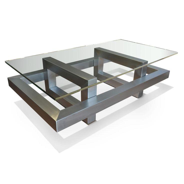 Mesa de centro / moderna / de cristal / de acero inoxidable ELOS GONZALO DE SALAS