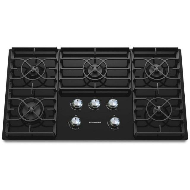 Kitchenaid Kgcc566rbl Architect Series Ii 36 In Gas On Glass Gas Cooktop In Black With 5 Burners Including 17000 Btu Professional Burner Gas Cooktop Kitchen Aid Glass Cooktop