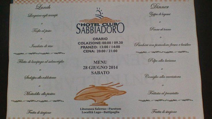 Hotel club Sabbiadoro: IN ANTEPRIMA IL MENU DI SABATO ALL'HOTEL CLUB SABB...