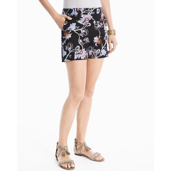 White House Black Market 5-inch Floral Printed Smooth Stretch Shorts (55 CAD) ❤ liked on Polyvore featuring shorts, cotton spandex shorts, stretch shorts, flower shorts, flower print shorts and floral print shorts
