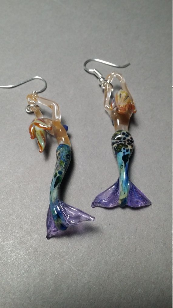 Mermaid Dangle Earrings with choice of wires by Glassnfire on Etsy