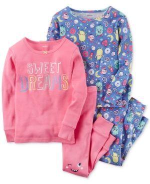Carter's 4-Pc. Sweet Dreams Cotton Pajama Set, Little Girls (2-6X) & Big Girls (7-16) - MULTI 6
