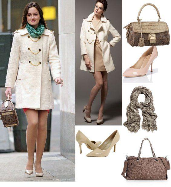 On Blair: Milly Chain Coat, Louis Vuitton Les Extraordinaires Monogram Guipure Satchel, Oscar de la Renta Scarf Modal-Blend Scarf, Giuseppe Zanotti Nude Pointed Patent Pumps