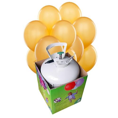 Una bombona de helio con 30 globos de látex color oro, de www.fiestafacil.com - $56.95 / A disposable helium tank with 30 gold latex balloons, from www.fiestafacil.com