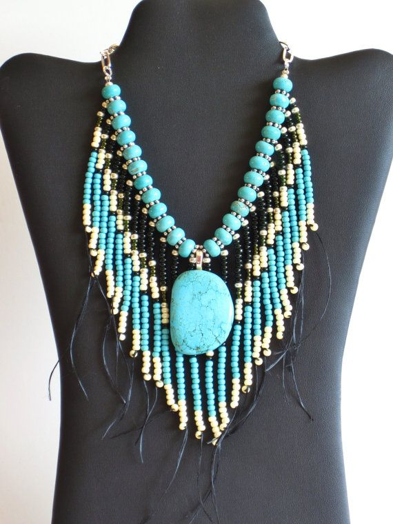 Native American style tribal fringed necklace in turquoise, ivory and dark green