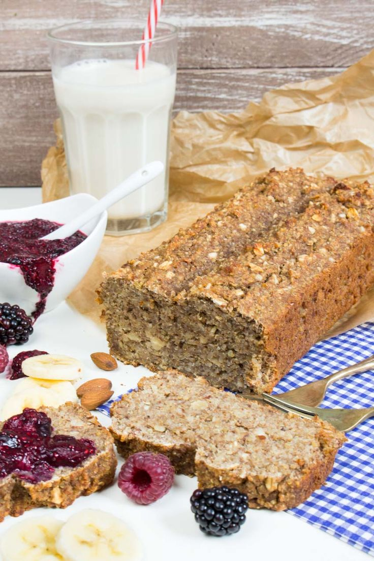Vegan Banana-Quinoa Bread with Chia Jam (replace whole wheat flour w/all-purpose GF flour or maybe GF oat flour)