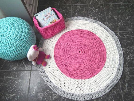 Nice Gro e rosa h keln Runde Teppich Rosa Baumwolle Rag von LoopingHome