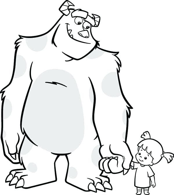 Boo Monsters Inc Coloring Pages Sully Monsters Inc Coloring Page