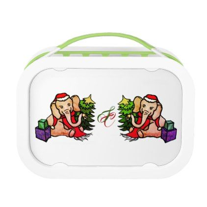 Cute Monogram Christmas Santa Cartoon Elephants Lunch Box - home gifts ideas decor special unique custom individual customized individualized