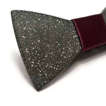FATHER'S DAY SALE! Concrete bow tie. Stone bowtie with Purple satin.Gift for boyfriend! Men jewelry. Black bowtie. Bow tie for him.