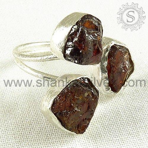 925 Sterling Garnet Rough Stone Ring.