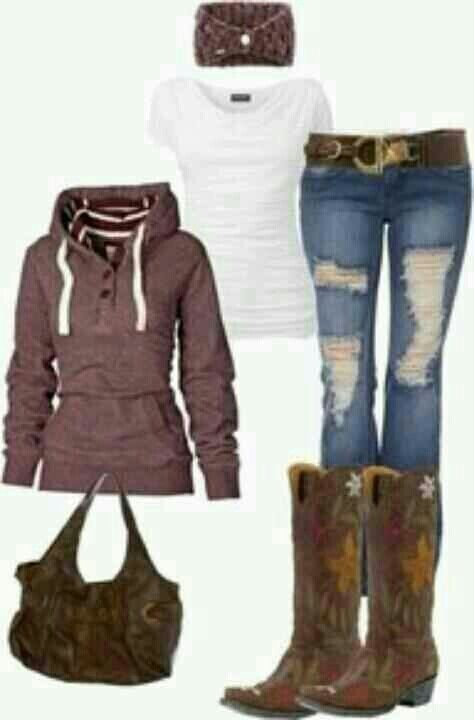 Comfy country girl outfit! :)  If I stay up north I will need a few outfits like this for the fall...