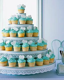 Turquoise cupcake tower  LOVE THIS!  engagement party/bridal shower