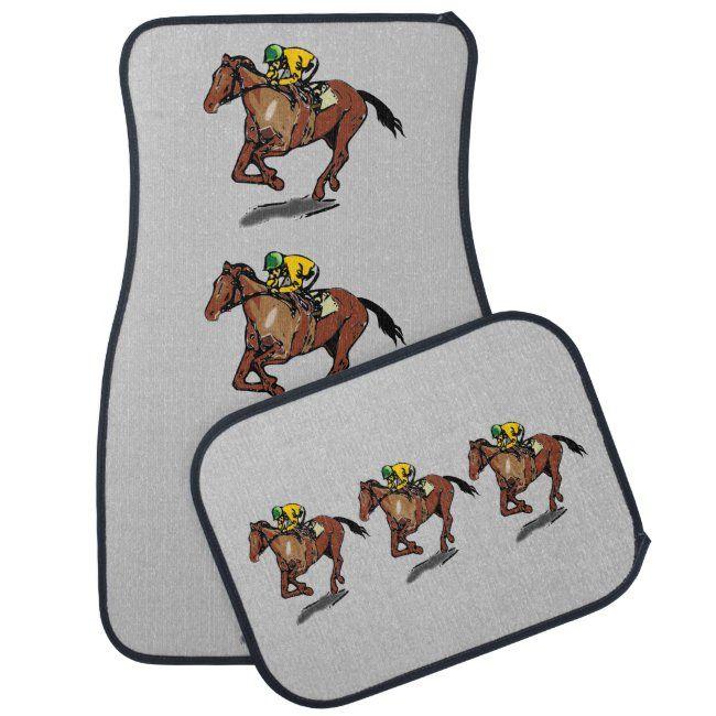 Thoroughbred Horse Racing And Jockey Car Floor Mat Zazzle Com In 2020 Thoroughbred Horse Racing Thoroughbred Horse Car Floor Mats