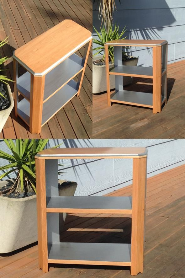 Small Rimu side table with silver painted shelves.
