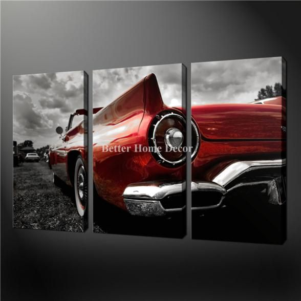 3 Piece Wall Art Painting Pictures Print On Canvas Black White And Red Red Cadillac Vintage Car The Picture For Home Decor Oil(China (Mainla...